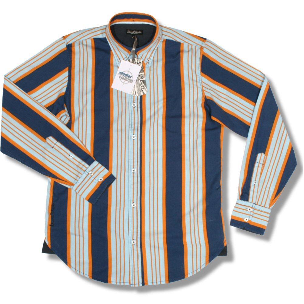 a7990141 David Watts Mod Retro 60's Button Down Candy Stripe Print LS Shirt Blue  Orange S | Adaptor Clothing