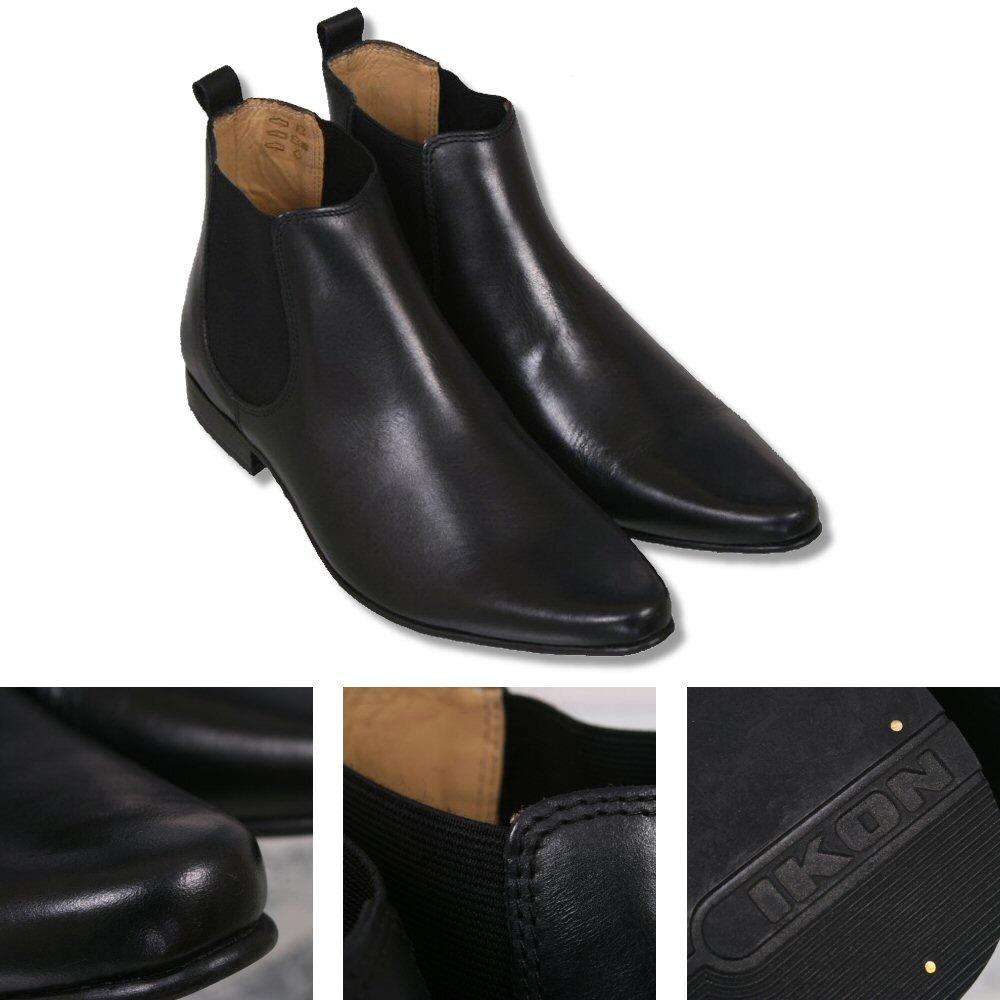 Ikon Originals Sly Twin Elastic Gusset Chelsea Boot Leather Black