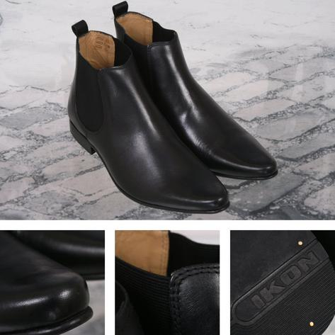 Ikon Originals Sly Twin Elastic Gusset Chelsea Boot Leather Black Thumbnail 1