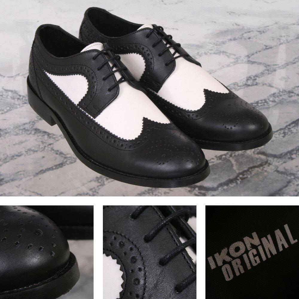 Ikon Originals Yorke Royal Style Brogue Shoe Black / White