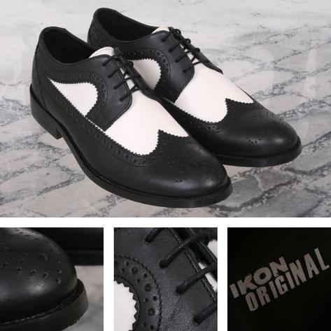 Ikon Originals Yorke Royal Style Brogue Shoe Black / White Thumbnail 1