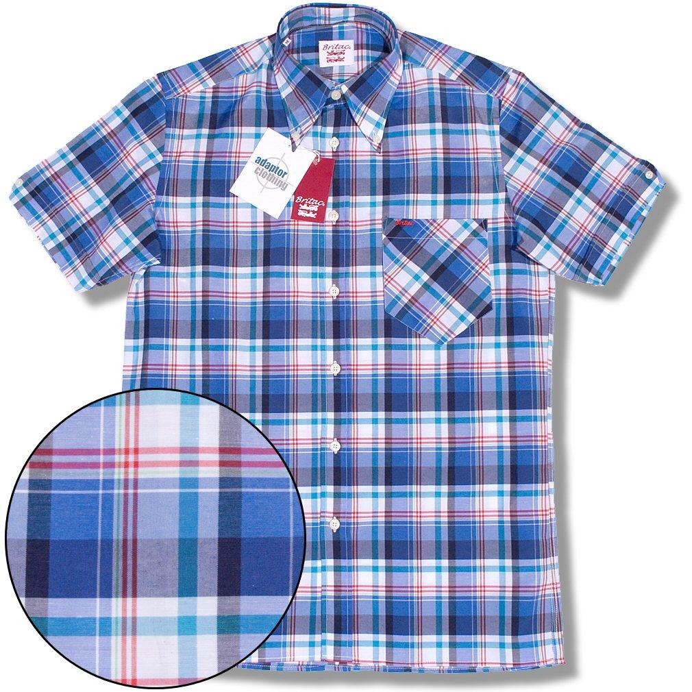 4a0c817f3ed5e Britac Mod Skin 60's 70's Retro S/S Button Down Check Shirt Blue / Red