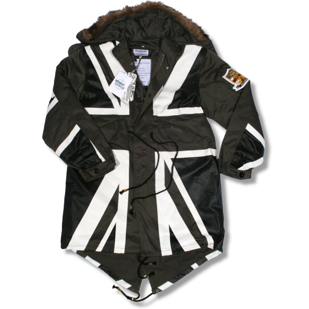 David Watts Mod Retro 60's Fur Hooded Union Flag Print M65 ...