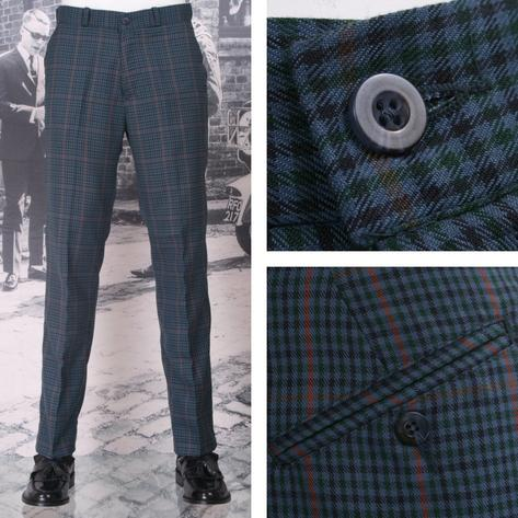 NEW Relco Mod 60's Retro Sta Press Trousers Tweed Multi Check Thumbnail 1