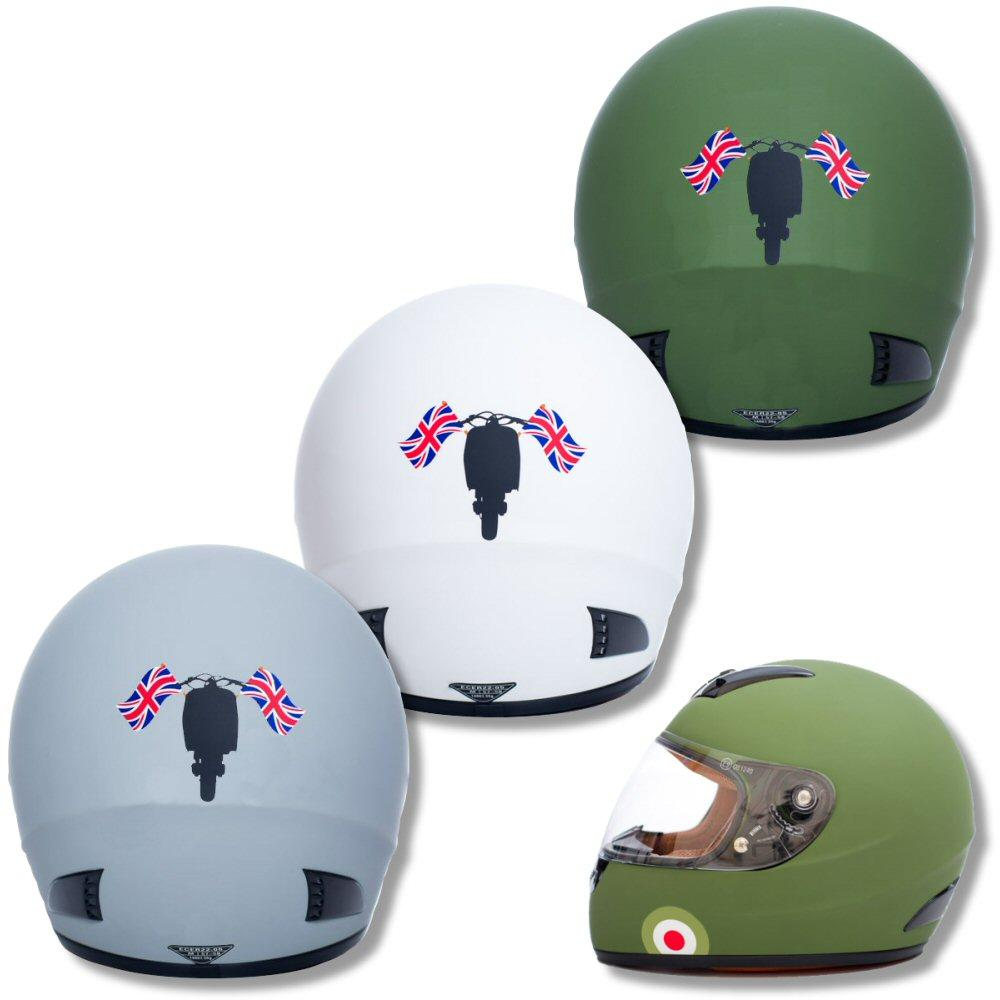 Carnaby Designs Mod Scooterist Union Flags Full Face Scooter Crash Helmet