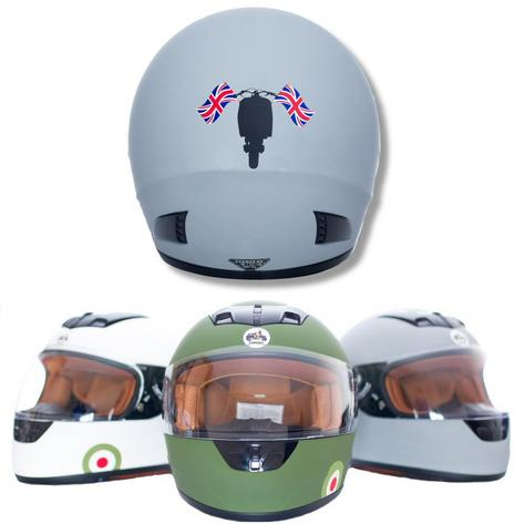 Carnaby Designs Mod Scooterist Union Flags Full Face Scooter Crash Helmet Thumbnail 2