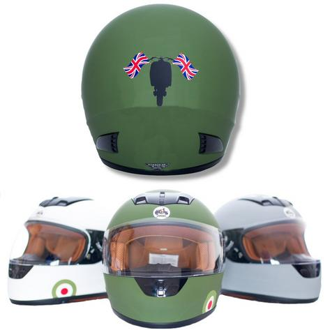 Carnaby Designs Mod Scooterist Union Flags Full Face Scooter Crash Helmet Thumbnail 4