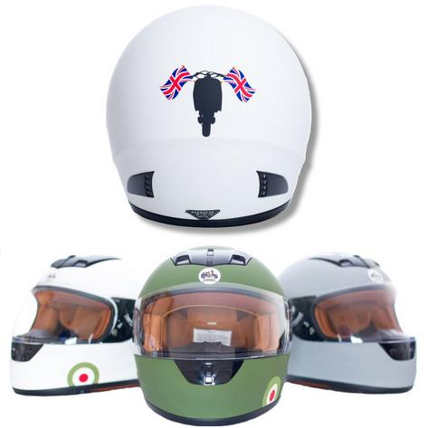 Carnaby Designs Mod Scooterist Union Flags Full Face Scooter Crash Helmet Thumbnail 3
