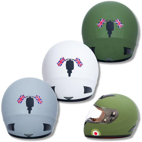 Carnaby Designs Mod Scooterist Union Flags Full Face Scooter Crash Helmet Thumbnail 1