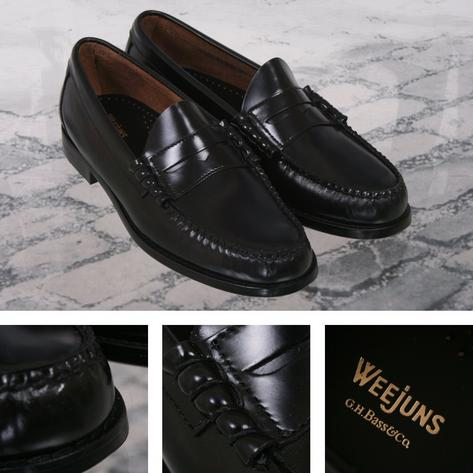 Bass Weejuns Classic Ivy League Mod 60's Leather Penny Loafer Shoe Black Thumbnail 1