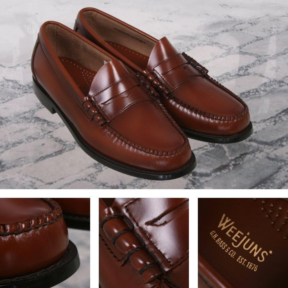 Bass Weejuns Classic Ivy League Mod 60's Leather Penny Loafer Shoe Cognac
