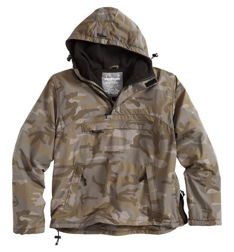 Surplus Raw Vintage Hooded Cagoule Windbreaker Fleece Lined New Night Camo  Thumbnail 1