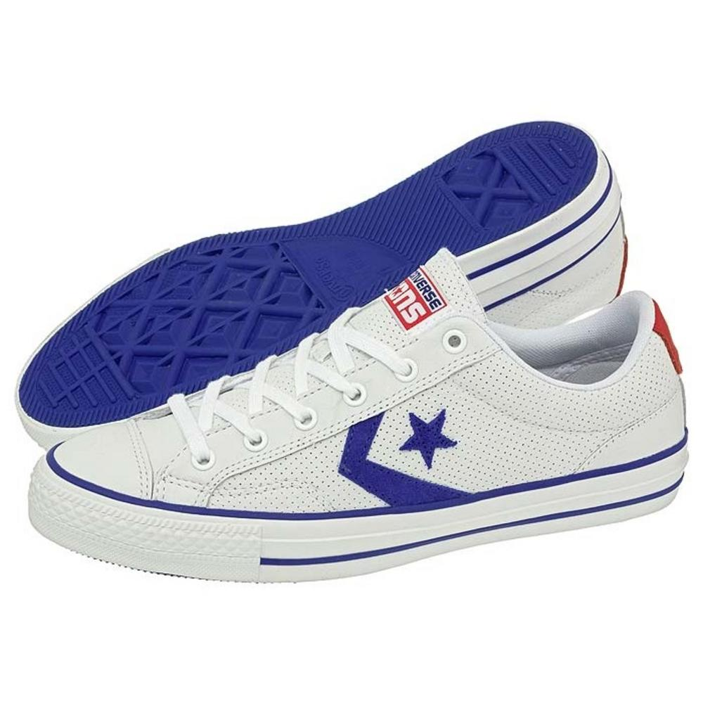 840a5b48f39  Converse Star Player Chevron Ox Lo Perforated Leather White   Radio Blue