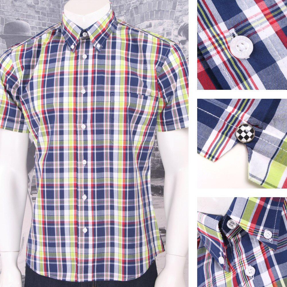Warrior Mod Skin Retro Button Down S/S Madras Check Shirt Lime / Red / Navy
