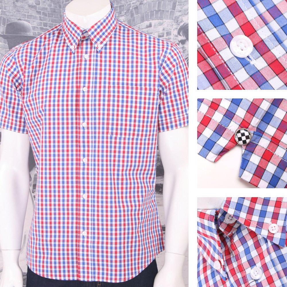 Warrior Mod Skin Retro Button Down S/S Gingham Check Shirt Red / White / Blue