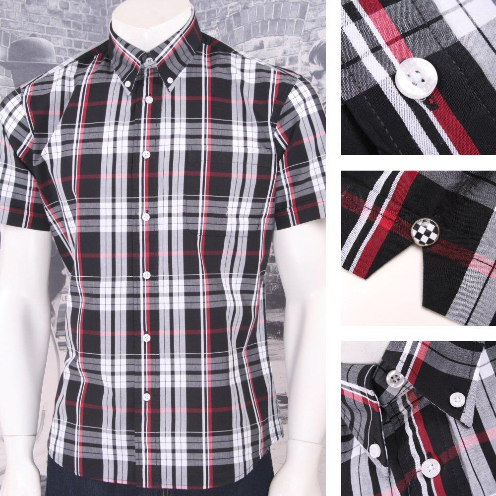 Warrior Mod Skin Retro Button Down S/S Window Pane Check Shirt Black / White