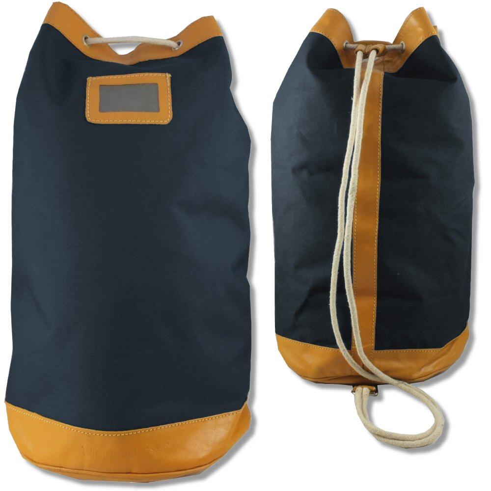Oxford Bag Company Retro Canvas   Leather Drawstring Duffle Barrell Bag  Navy Thumbnail 1 99bd6a531f905