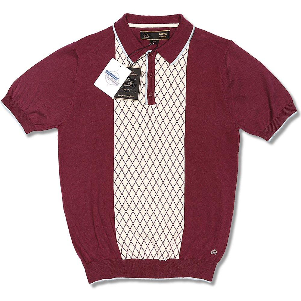 7208d9ef8 Merc London Mod Retro 60 s 3 Button Tipped S S Diamond Knit Polo Shirt Wine