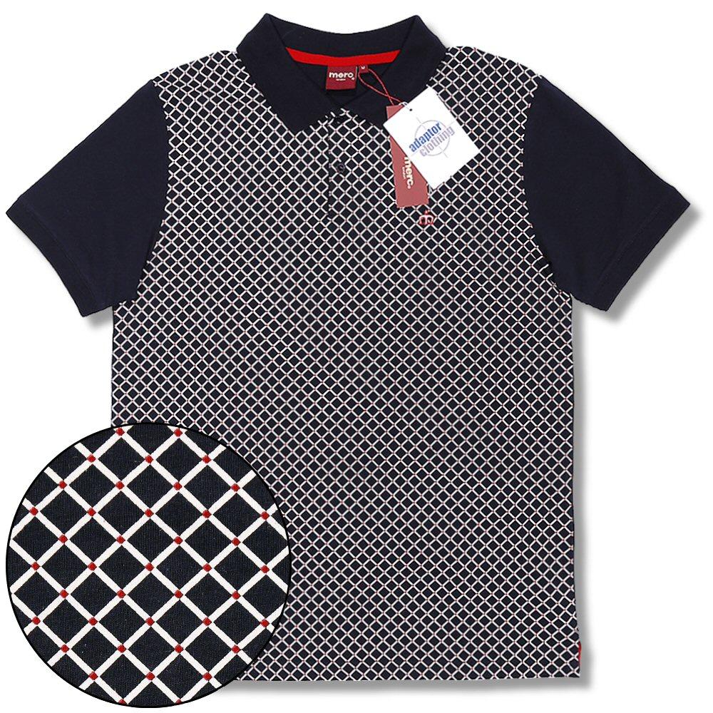 ceed057d Merc London Mod Retro 60's Diamond Print 2 Button S/S Polo Shirt Navy Blue  ...