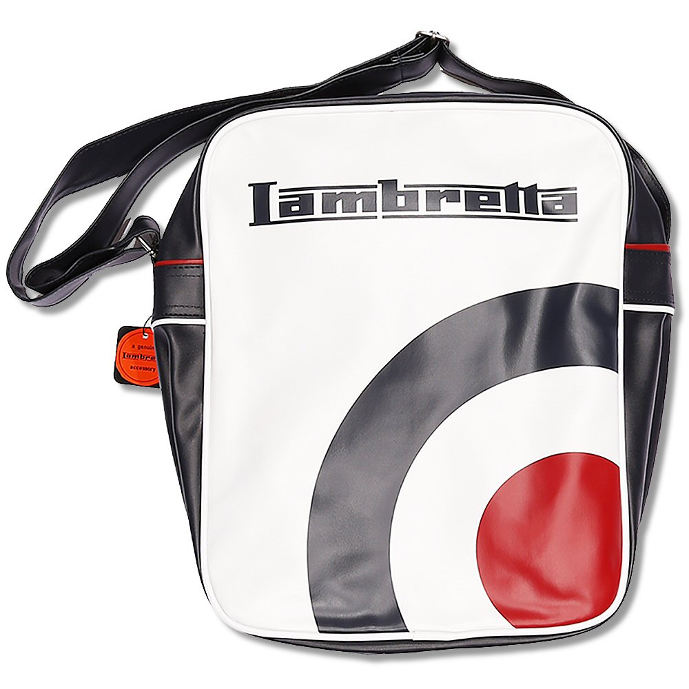 26894ca931 Lambretta Mod 60 s Target Logo Flight Shoulder Bag White Navy Thumbnail 1