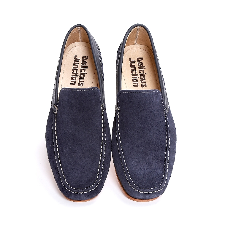 ced9364b816 Delicious Junction Suede Moccasin Style Leather Sole Summer Loafer Navy Blue  9