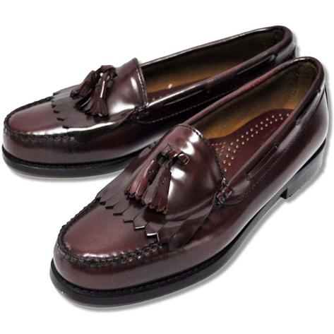 Bass Weejuns Ivy League All Leather Tassel & Fringe Layton Loafer Shoe Burgundy Thumbnail 1