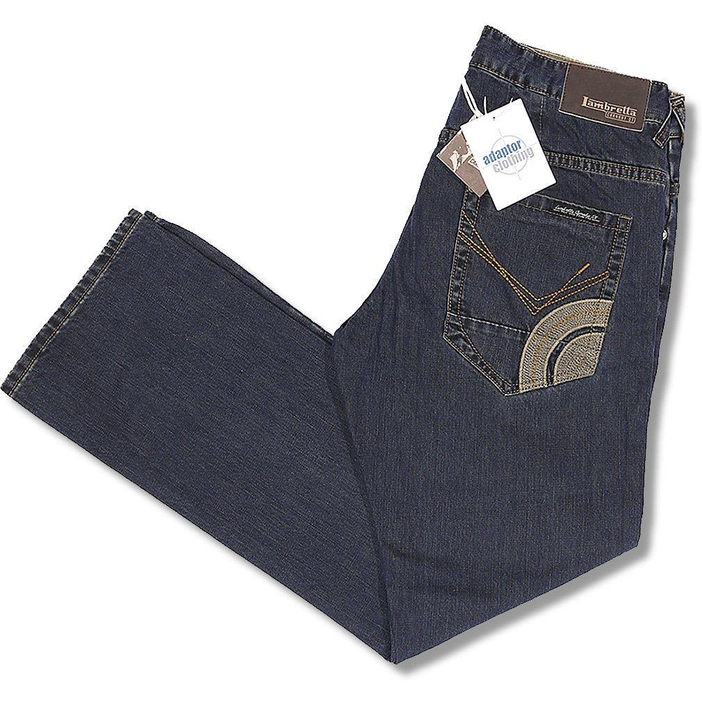 ace36bd4e49 Lambretta Mod 60's Retro Target Pocket Dark Dye Easy Fit Denim Jeans Blue  38R Thumbnail 1 ...