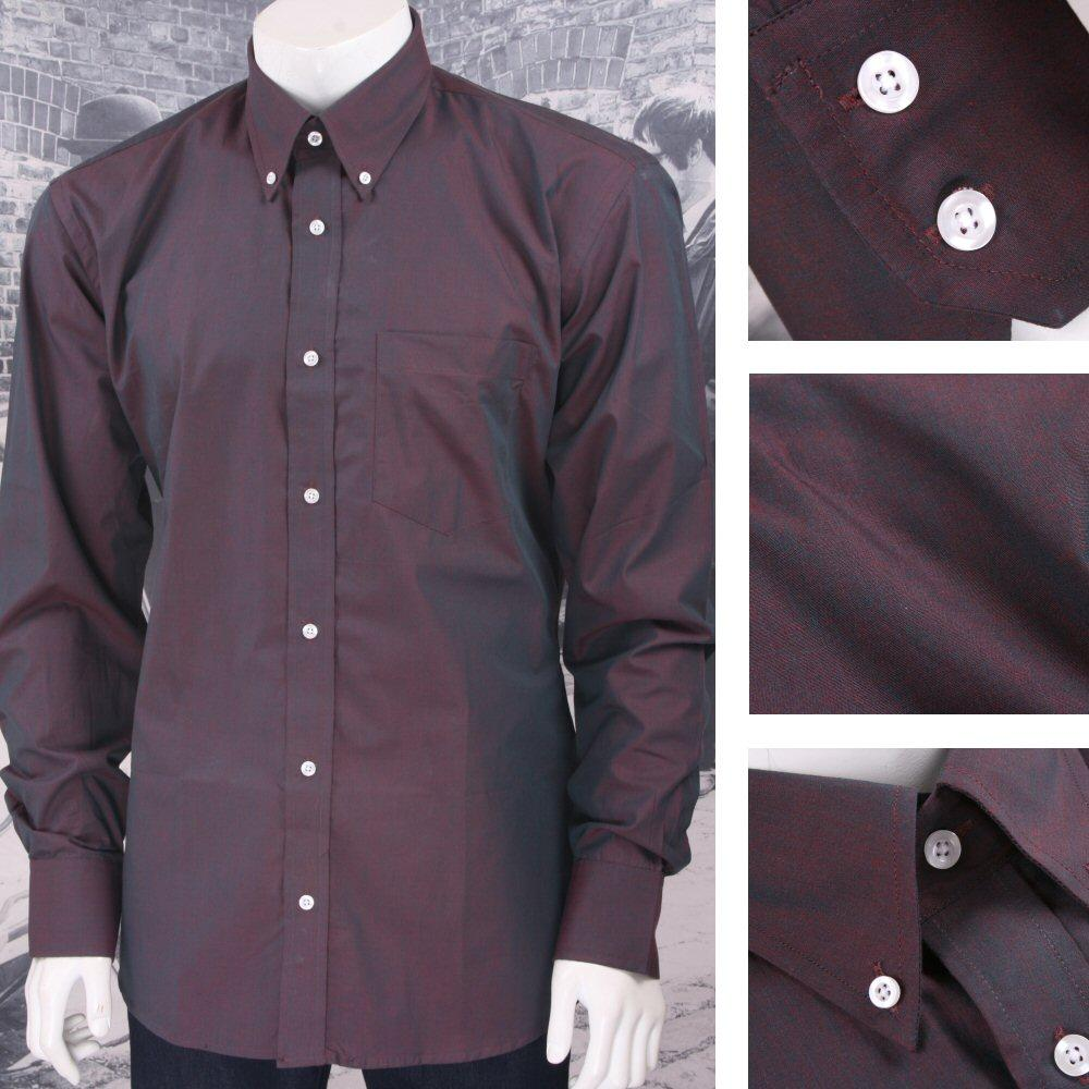 Classic Relco Mod Retro 60's Button Down Two Tone Tonic L/S Shirt Burgundy