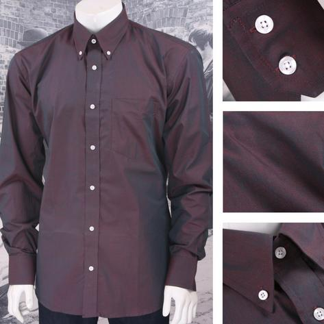 Classic Relco Mod Retro 60's Button Down Two Tone Tonic L/S Shirt Burgundy Thumbnail 1