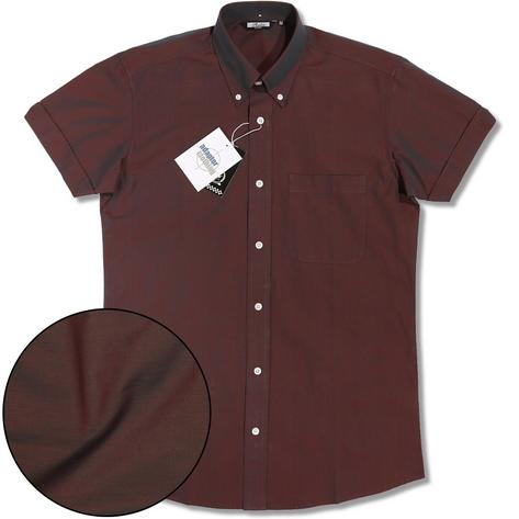 Classic Relco Mod Retro 60's Button Down Two Tone Tonic S/S Shirt Burgundy Thumbnail 1