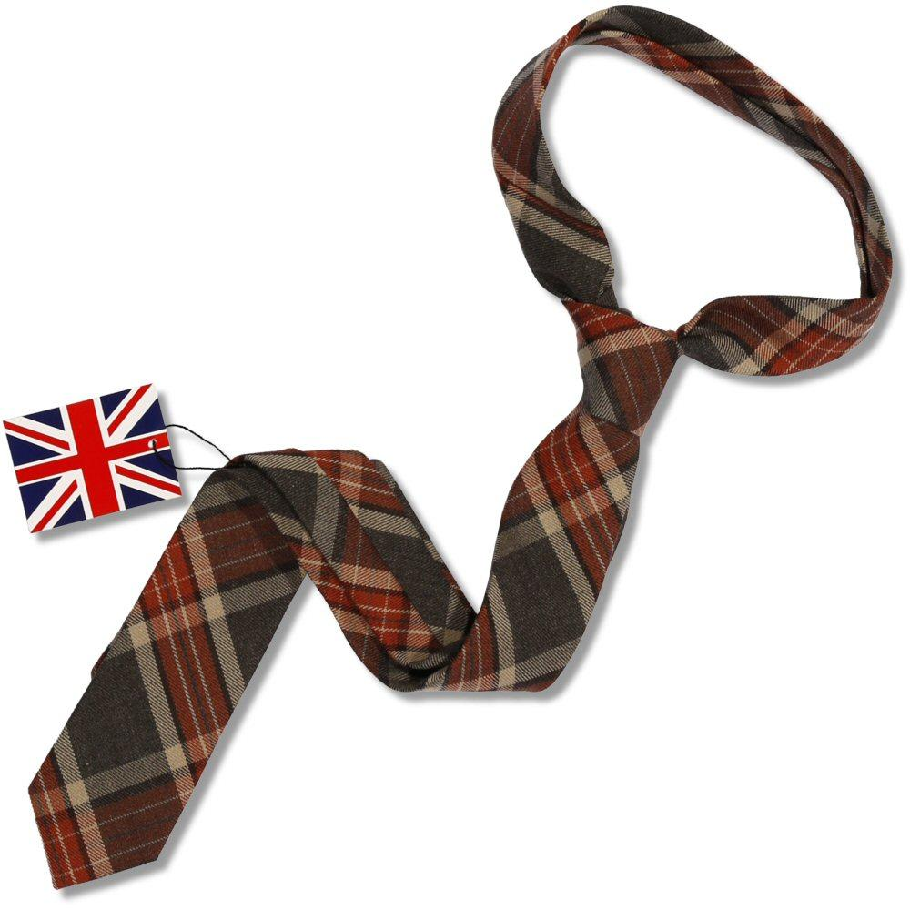 Knightsbridge Retro Mod 60's Woven Wool Tartan Slim Pointed Tie Charcoal / Tan