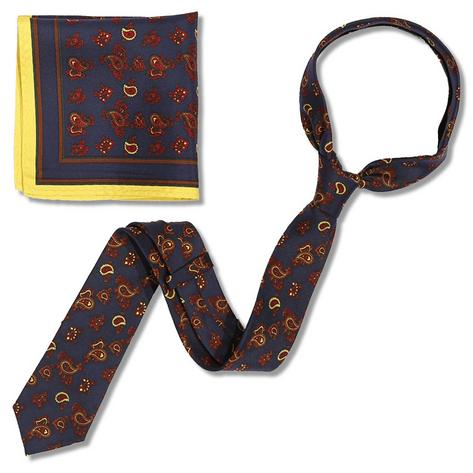 Knightsbridge Retro Mod 60's Matching Paisley Silk Slim Tie and Pocket Square Na Thumbnail 2