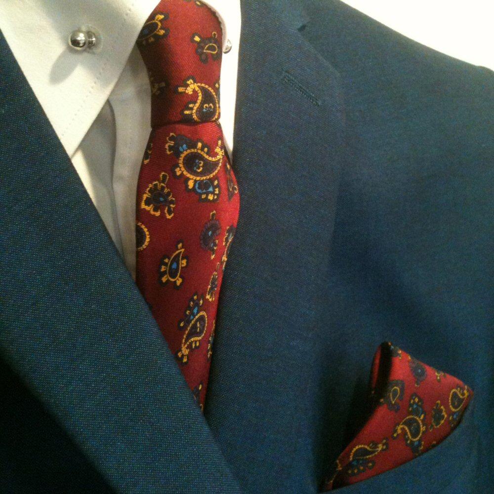 428a27c3028f0 Knightsbridge Retro Mod 60's Matching Paisley Silk Slim Tie and Pocket  Square Bu   Adaptor Clothing