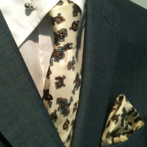 Knightsbridge Retro Mod 60's Matching Paisley Silk Slim Tie and Pocket Square Of Thumbnail 1