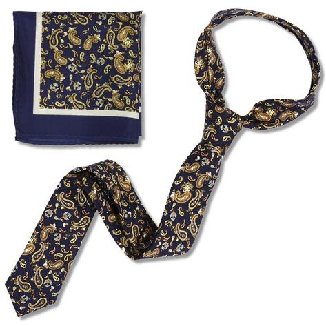 Knightsbridge Retro Mod 60's Matching Paisley Silk Slim Tie and Pocket Square Na Thumbnail 1
