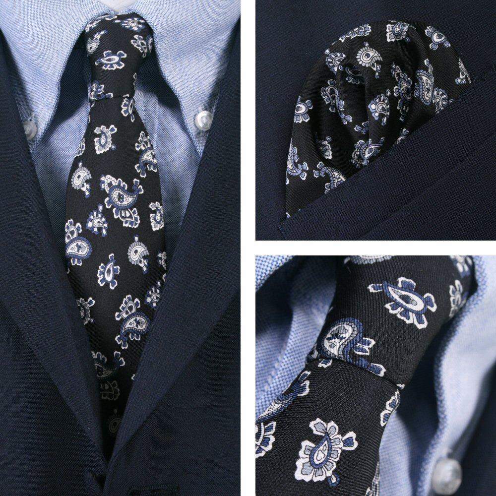 Knightsbridge Retro Mod 60's Matching Big Paisley Silk Slim Tie and Pocket Squar