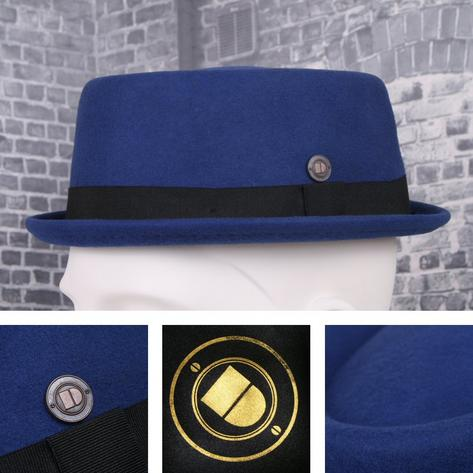 Dasmarca Rude Boy Narrow Brim 100% Wool Felt Trilby Pork Pie Hat Thumbnail 5