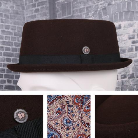 Dasmarca Rude Boy Narrow Brim 100% Wool Felt Trilby Pork Pie Hat Thumbnail 2