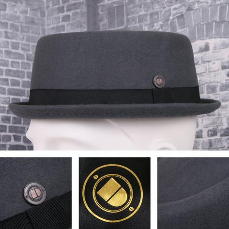 Dasmarca Rude Boy Narrow Brim 100% Wool Felt Trilby Pork Pie Hat Thumbnail 4