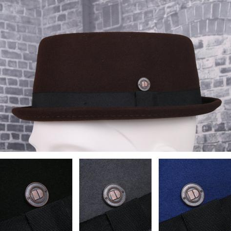 Dasmarca Rude Boy Narrow Brim 100% Wool Felt Trilby Pork Pie Hat Thumbnail 1