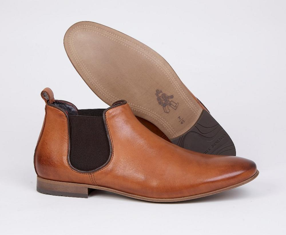 Delicious Junction Kings Road Burnished Leather Elastic Gusset Chelsea Boot Tan