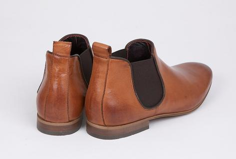 Delicious Junction Kings Road Burnished Leather Elastic Gusset Chelsea Boot Tan Thumbnail 3