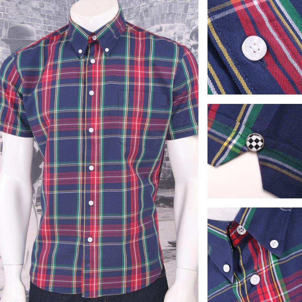 Warrior Mod Skin Punk Retro Button Down S/S Tartan Check Shirt Navy / Red