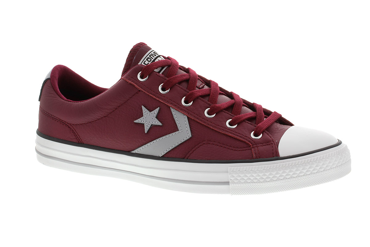 0b8b5aa65d3416 Converse Star Player Chevron Ox Lo Leather Trainer Burgundy and Grey  Thumbnail 1