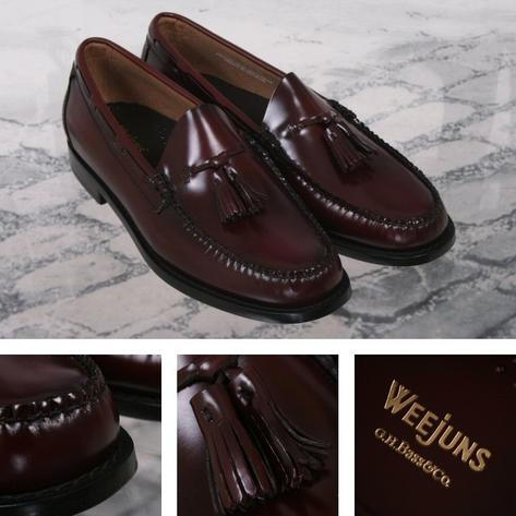 Bass Weejuns Ivy League Mod 60's Leather Plain Top Tasseled Loafer Shoe Burgundy Thumbnail 1