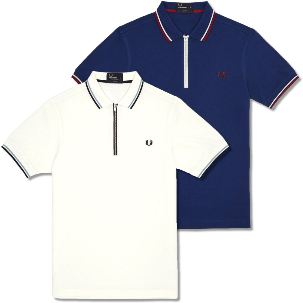 185707c3b Fred Perry Mod 60's Classic Laurel Wreath Tipped Pique Zip Neck Polo Shirt  Thumbnail 1 ...