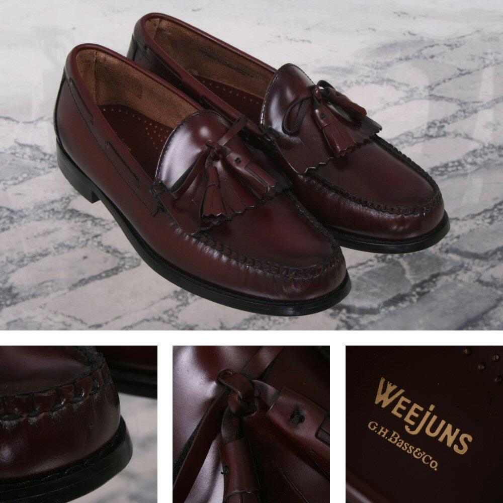 Bass Weejuns Ivy League Leather Bow Tassel & Fringe Layton Loafer Shoe Burgundy