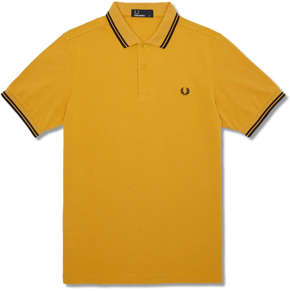 3f90bf514 Fred Perry Mod 60 s Classic Laurel Wreath Tipped Pique Polo Shirt Mustard  Thumbnail 1