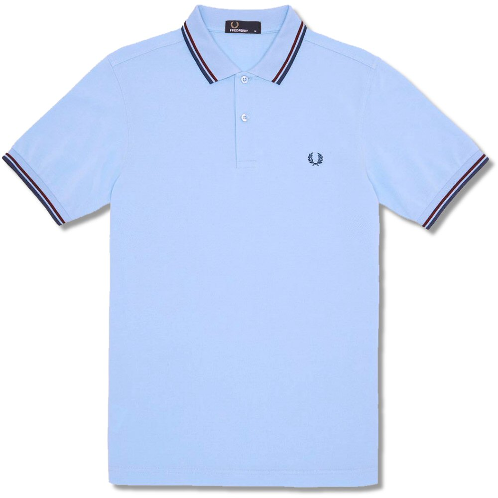 0741079c Fred Perry Mod 60's Classic Laurel Wreath Tipped Pique Polo Shirt Sky Blue  Thumbnail 1
