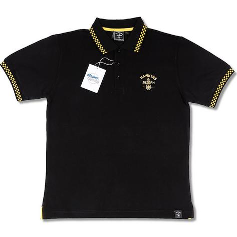 Hawkins and Joseph Rudeboy 2 Tone Skin Ska Checker Collar Polo Shirt Blk/Yel Thumbnail 1